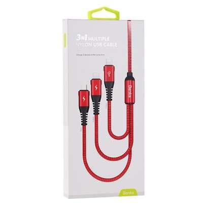 Cablu de date Benks D25 3in1 MicroUSB plus 2x Lightning 1.5m Rosu