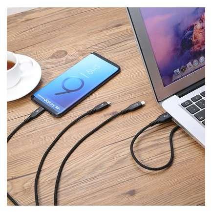 Cablu de date Benks D25 3in1 MicroUSB Lightning USB-C 1.5m Negru