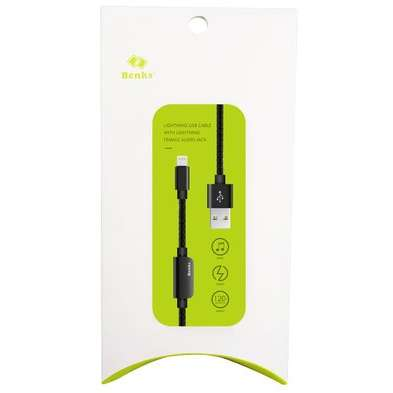 Cablu adaptor Benks D20 Lightning audio 1.2m Negru