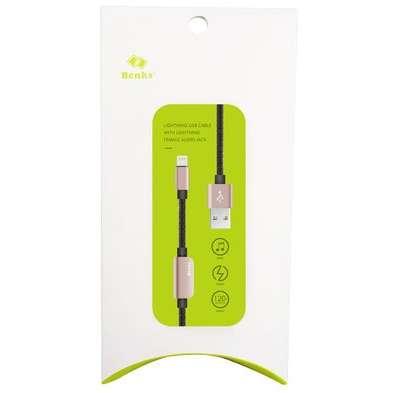 Cablu adaptor Benks D20 Lightning audio 1.2m Rose Gold