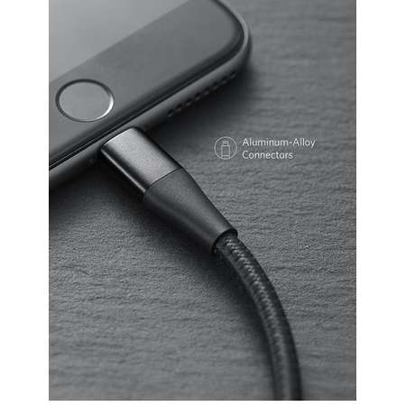 Cablu de date Anker PowerLine+ II Lightning 1.8m Negru plus husa cadou