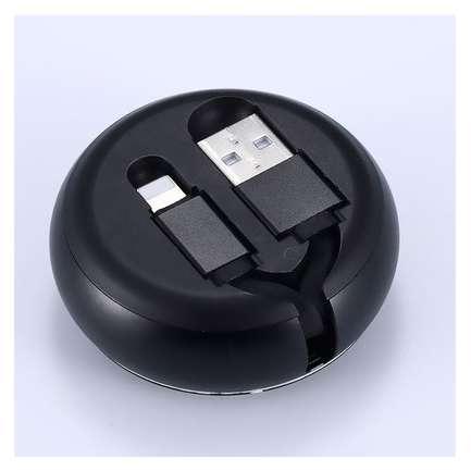 Cablu retractabil Benks D28 Lightning 0.9 m Negru