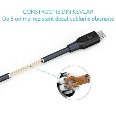 Cablu de date Anker MicroUSB 0.9m Negru
