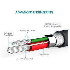 Cablu de date Anker PowerLine Premium MicroUSB 3m Gri