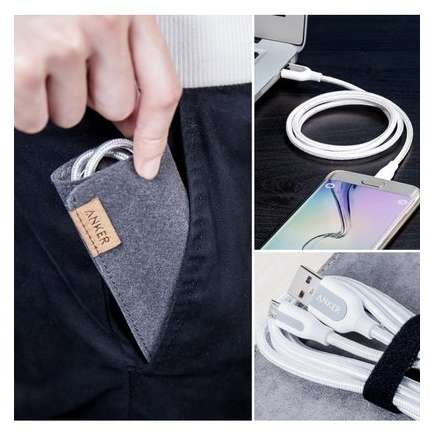 Cablu de date Anker Premium PowerLine+ Nylon MicroUSB 0.91m Alb