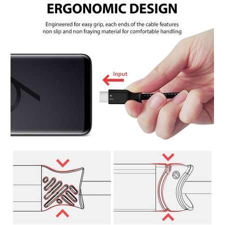 Cablu de date Ringke Smart Fish USB-C USB 3.0 1.2m Negru