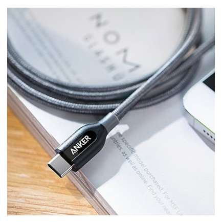 Cablu de date Anker PowerLine+ USB-C USB-C 2.0 0.9m Gri plus husa cadou
