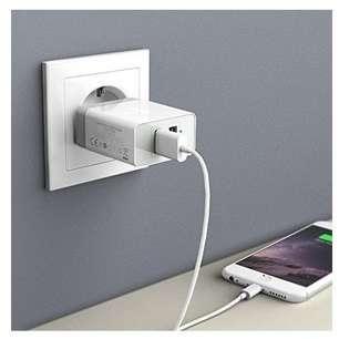 Incarcator retea Anker PowerPort 24W 2x USB PowerIQ Alb plus cablu microUSB 1m