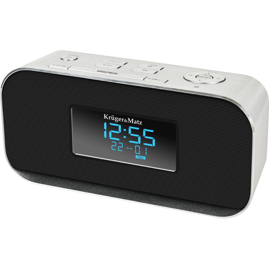 Radio cu ceas KM1150 Argintiu / Negru thumbnail