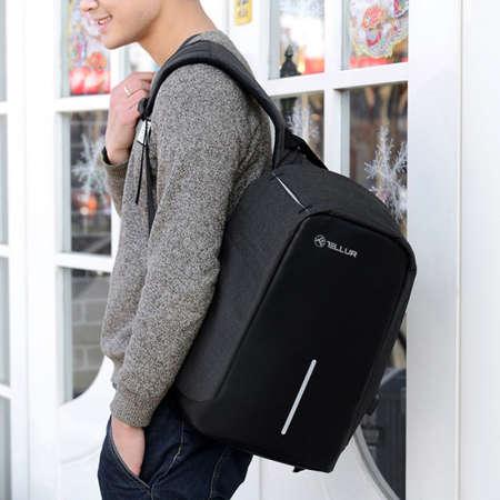 Rucsac laptop antifurt Tellur TLL611251 cu port USB 15.6 inch Negru