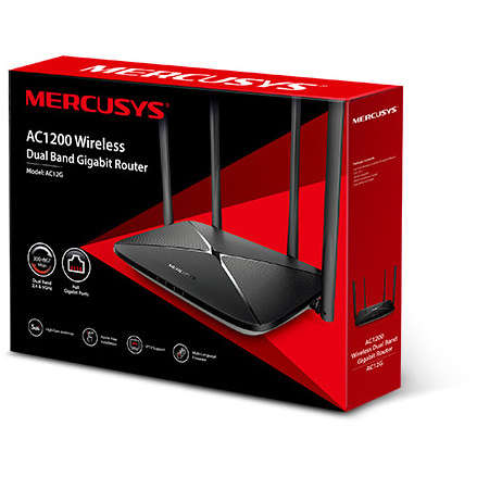 Router wireless MERCUSYS AC12G Gigabit AC1200 Dual-Band Negru