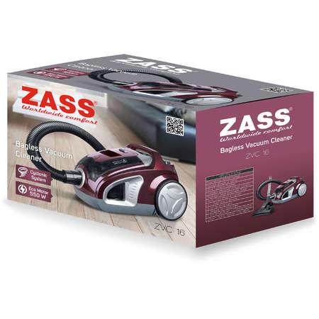 Aspirator ciclonic fara sac Zass ZVC 16 500W 190W 3 litri Visiniu