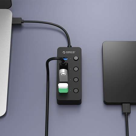 Hub USB Orico W9PH4-U3-V1-BK-PRO V1 4x USB 3.0 30 cm Negru