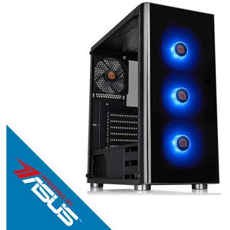Sistem desktop Gaming Powered by ASUS Typhoon V2 AMD Ryzen 7 2700X Octa Core 3.7 GHz 16GB RAM DDR4 nVidia GeForce GTX 1660 Ti STRIX GAMING O6G 6GB GDDR6 SSD 480GB + HDD 2TB Free Dos Black