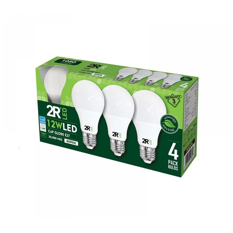 Set 4 becuri LED 12W E27 A60 4000K lumina neutra 1080 lumeni A+