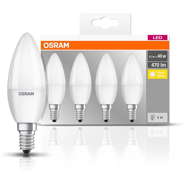 Set 4 becuri LED 5.7W E14 B40 2700K lumina cald 470 lumeni A++
