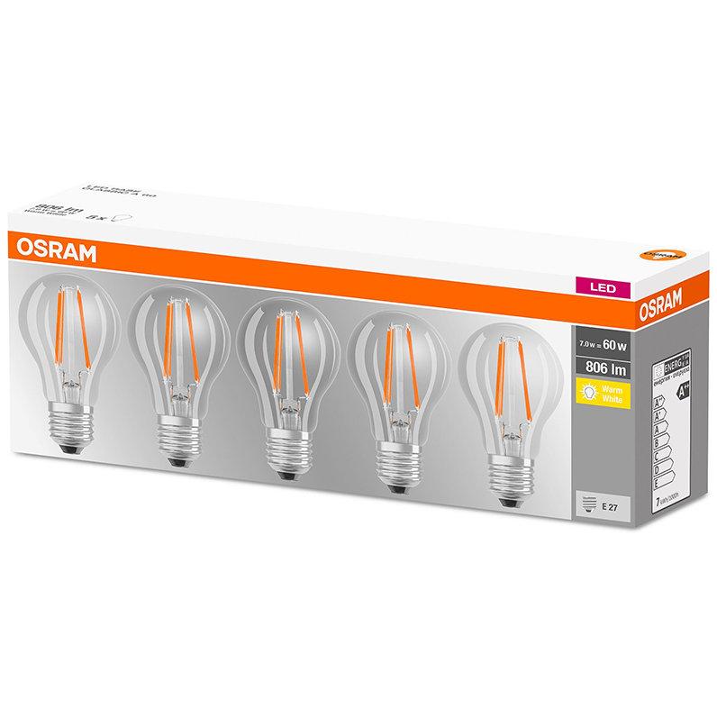 Set 5 becuri LED 7W E27 A60 2700K lumina calda 806 lumeni A++
