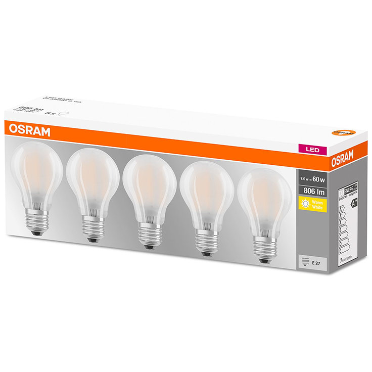 Set 5 becuri LED Mat 7W E27 A60 2700K lumina calda 806 lumeni A++