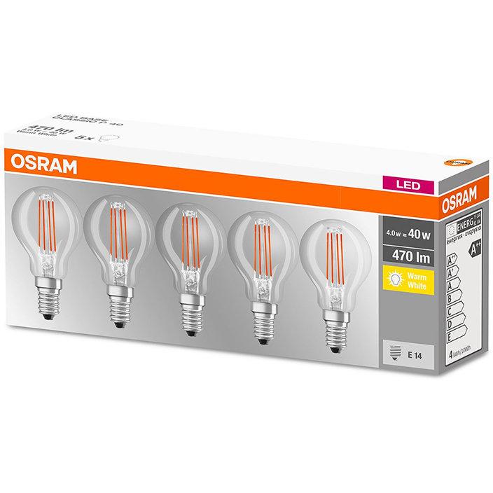 Set 5 becuri LED 4W E14 P40 2700K lumina calda 470 lumeni A++