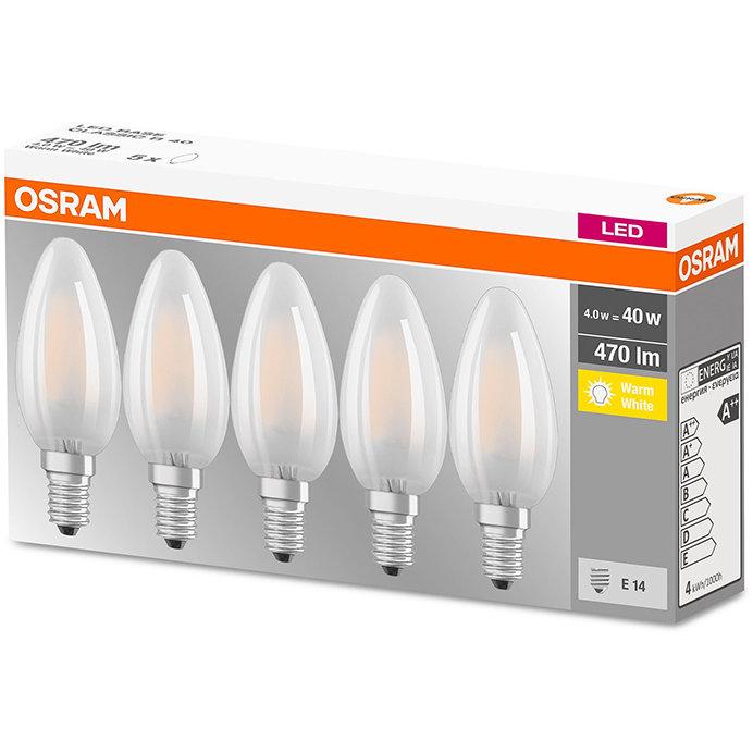 Set 5 becuri LED 4W E14 B40 2700K lumina calda 470 lumeni A++
