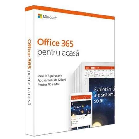 Microsoft 6GQ-00950 Office 365 Home 2019, Subscriptie 1 an, 6 utilizatori, Romana, Medialess Retail