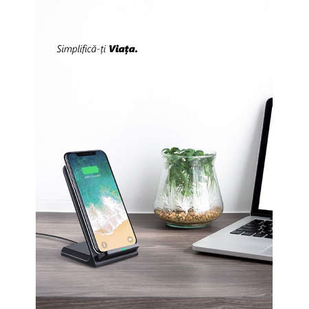 Incarcator NEX TECH Wireless Fast Charge certificat Qi 2 Bobine incorporate Compatibilitate Universala Negru