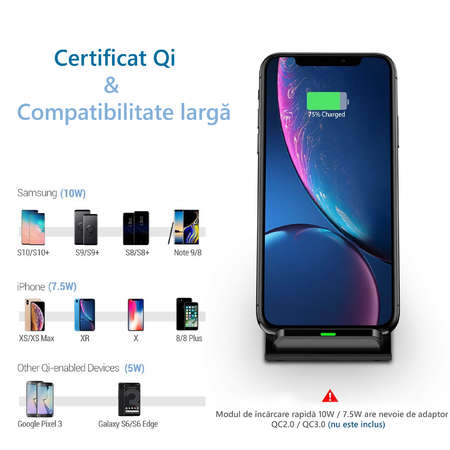 Incarcator NEX TECH Wireless Fast Charge certificat Qi 2 Bobine incorporate Compatibilitate Universala Negru