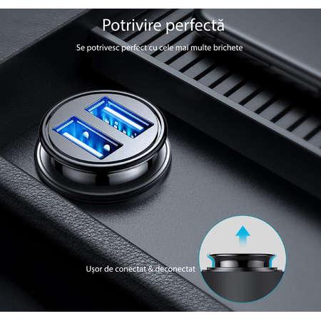 Incarcator auto NEX TECH PREMIUM 4.8A 470x205mm Adaptor dublu USB Compatibilitate Universala Negru