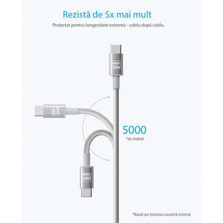 Cablu de date / incarcare NEX TECH Type C PREMIUM 2m Transfer date Incarcare Sincronizare Flexibil Universala Gri