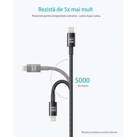 Cablu de date / încărcare NEX TECH Lightning PREMIUM Certificat MFi 0.5m Durabil Flexibil Compatibil iPhone Negru
