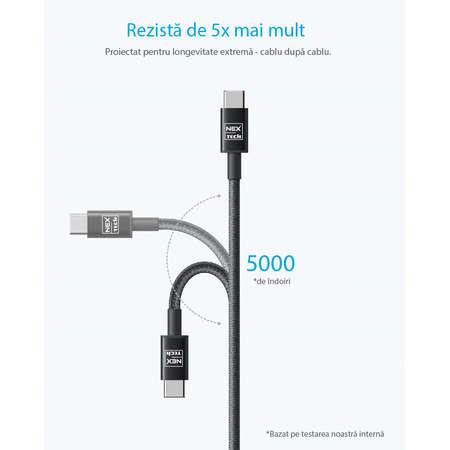 Cablu de date / incarcare NEX TECH PREMIUM Type C 1m Transfer date Incarcare Sincronizare Flexibil Compatibilitate Universala Negru