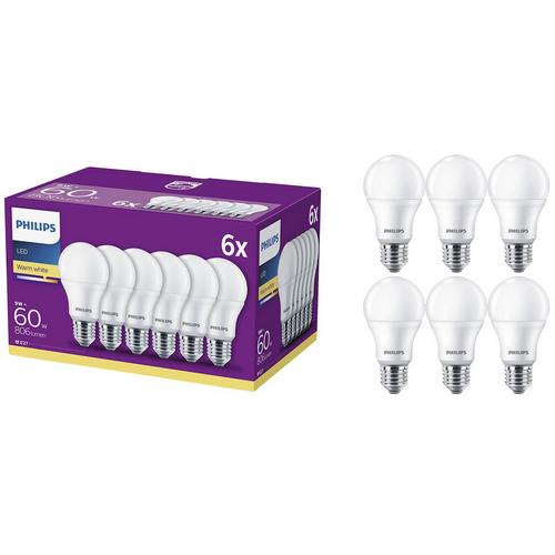 Set 6 becuri LED E27 9W 60W 806 lm A+ Lumina alba calda