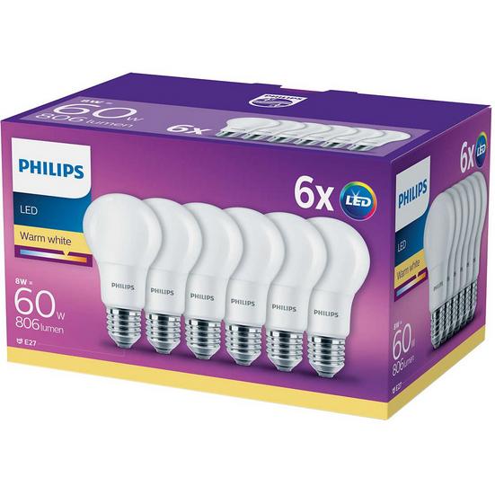 Set 6 becuri LED E27 8W 60W 806 lm A+ Lumina calda