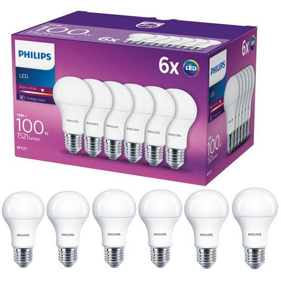 Set 6 becuri LED E27 13W 100W 1521 lm A Lumina calda