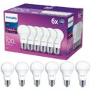 Set 6 becuri LED Philips E27 13W 100W 1521 lm A Lumina calda