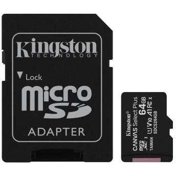 Card de memorie Kingston Canvas Select Plus 100R A1 64GB SDXC Clasa 10 + Adaptor SD