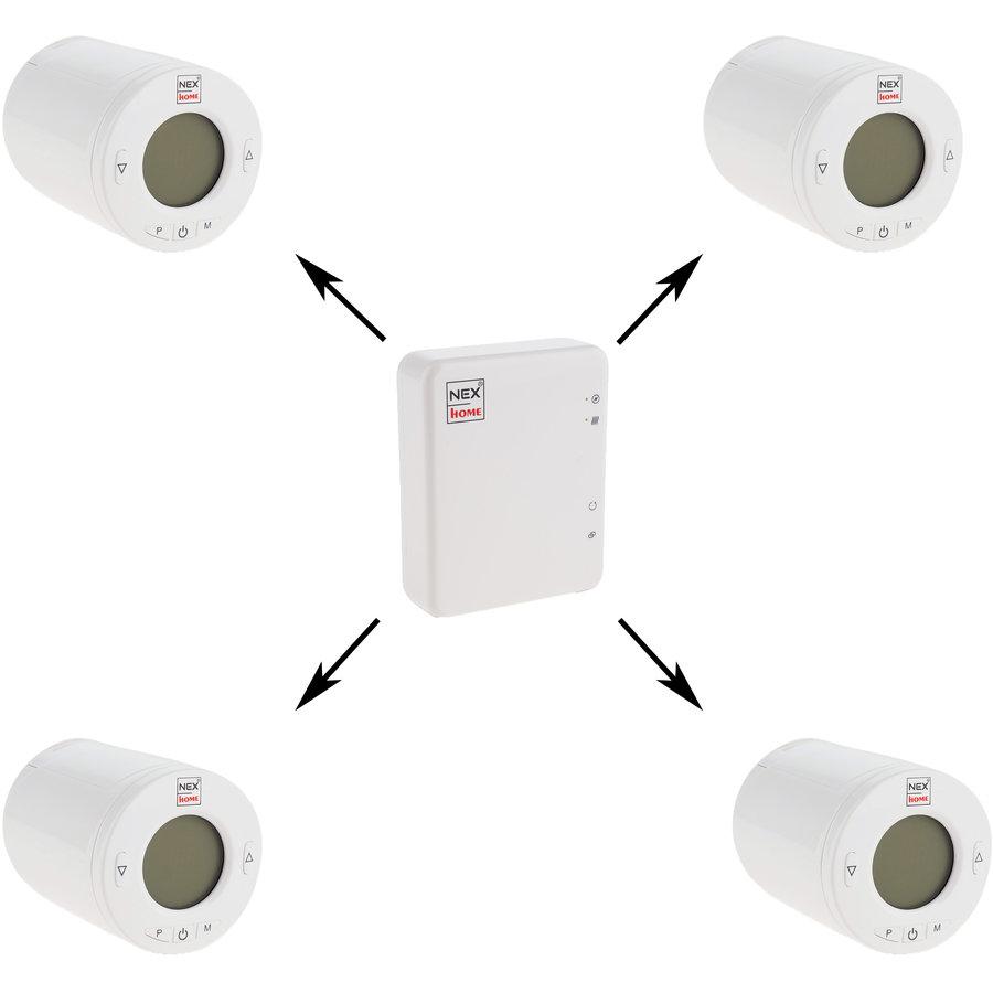 Pachet 4 Termostate Home Wireless Programabile Cu Display 1 Modul De Conectare Regleaza Curgerea Apei Prin Calorifer