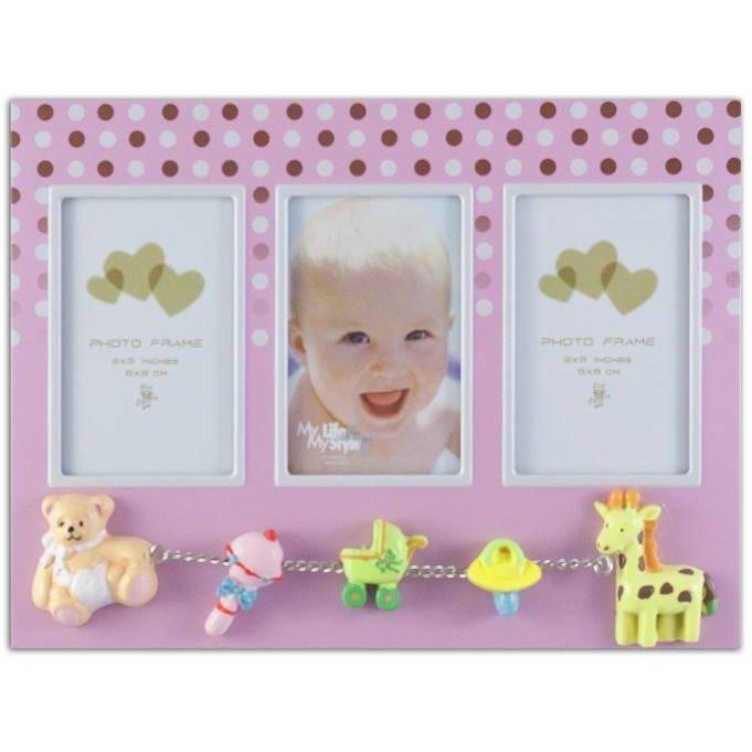 Rama foto multipla baby dots, format 6x8 cm Roz thumbnail