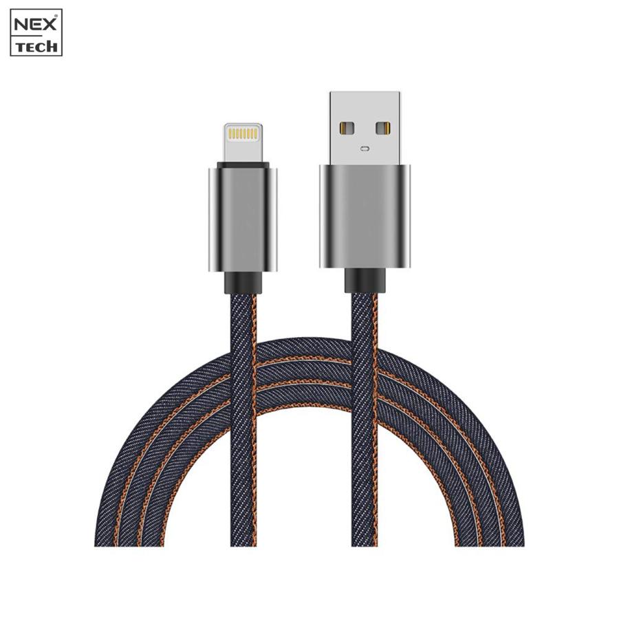 Cablu de date/incarcare TECH Denim Lightning PREMIUM Certificat MFi 1m Transfer date Incarcare Sincronizare Flexibil Compatibil iPhone Albastru thumbnail