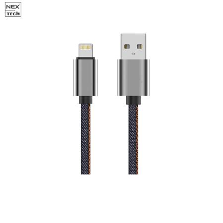 Cablu de date/incarcare NEX TECH Denim Lightning PREMIUM Certificat MFi 1m Transfer date Incarcare Sincronizare Flexibil Compatibil iPhone Albastru