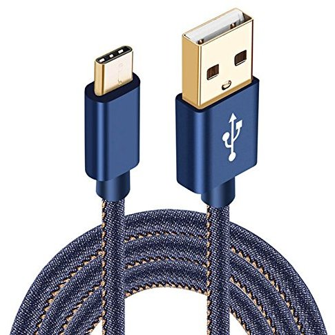 Cablu de date/încărcare TECH PREMIUM Denim Type C 1m Transfer date Incarcare Sincronizare Flexibil Universal Albastru thumbnail
