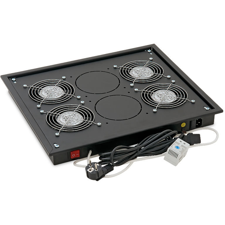 Panou ventilatie pentru rack de podea 19 4 ventilatoare 230V/60W cu termostat Flux axial Negru thumbnail