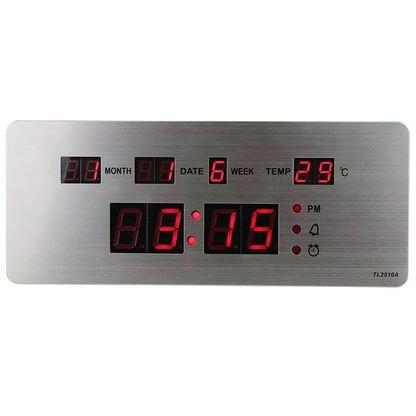 Ceas LED TL2510 slim cu calendar alarma si termometru Argintiu thumbnail