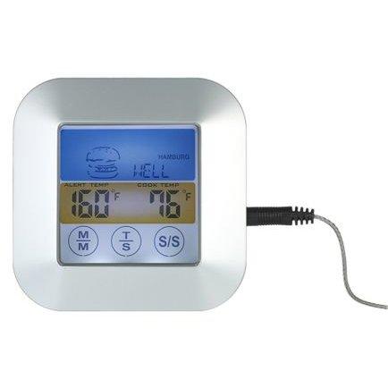 Termometru digital KH-0011 cu sonda bucatarie Touchscreen LCD iluminat Temporizator Alb/Auriu