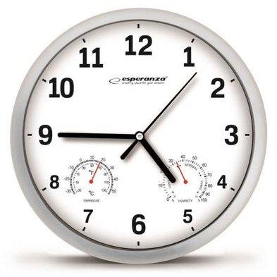 Ceas de perete EHC016W Lyon Afisaj analog Termometru Higrometru Alb thumbnail