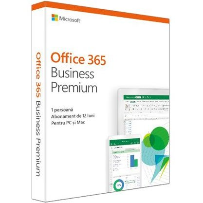 Aplicatie Office 365 KLQ-00387 Business Premium Romana Subscriptie 1 an - 1 utilizator Pentru PC/Mac telefon si tableta thumbnail