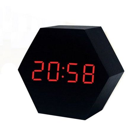 Ceas digital birou KH-0148N LED rosu Senzor sunet USB Calendar Termometru Lemn Negru thumbnail