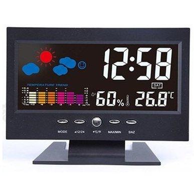 Ceas digital KH-0015 LED cu higrometru Termometru LCD 5.3 inch Senzor de sunet thumbnail