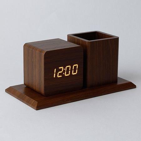 Ceas digital KH-0321 LED cu suport pixuri Lemn Senzor sunet Alarma Calendar Termometru Lemn thumbnail