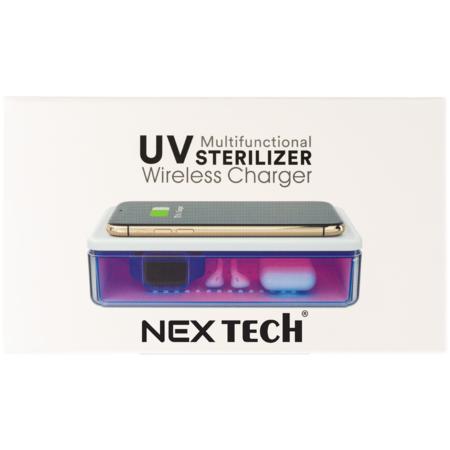 Dispozitiv Cutie cu Lampa Bactericida Virucida UVC NEX si Incarcator Wireless 15W Alb Dezinfecteaza eficient Bijuterii Telefonul Masca Ceasul Bancnotele Ochelarii Castile